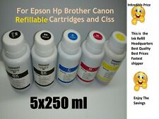 5x 250 ml Refill ink for Epson hp brother canon continuous ink refill  systems