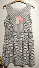 Monsoon Alicia Ivory Black Embroidered Summer Dress Size 18 BNWT