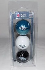 NFL FOOTBALL TEAM LOGO GOLF BALLS SET OF 3 PHILADELPHIA EAGLES NEW IN PACKAGE