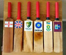 "Hand Carved Wooden Mini-Cricket Bats,8.5"",England,Australia,SA, etc. @ £3"