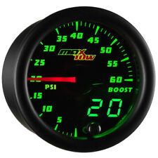 MaxTow Black & Green LED Double Vision 60psi Diesel Boost Gauge - MT-DV01-60