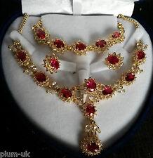 SET Red ruby sim diamond GOLD GF matching necklace earrings bracelet ring PlumUK