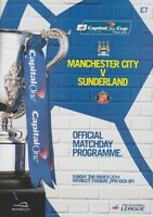 MAN CITY v SUNDERLAND CAPITAL ONE CUP FINAL 2014 MINT PROGRAMME MANCHESTER