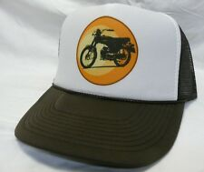 Vintage motorcycle Trucker Hat mesh Hat Snap Back Hat brown one size fits most