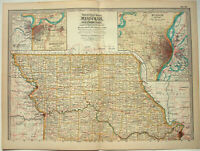Original 1897 Map of Northern Missouri by The Century Company. Antique Map