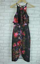 DOTTI Dress Sz 10 Black, Pink, Purple Floral Print Exposed Zip