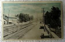 POSTCARD RAILROAD TRAIN TRACKS STREET WAGONS MANOR PENNSYLVANIA #x4e