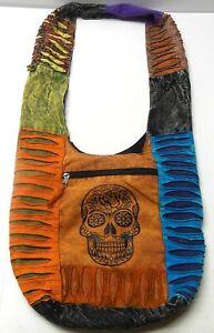 SUGAR SKULL Hobo Bag Hippie Purse Day Of The Dead Dia De Los Muertos Good Cond.