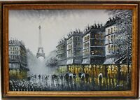 Original oil painting on canvas, cityscape, Paris, Eiffel Tower, signed, framed