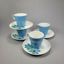 Vintage Mikasa Fanfare Blue Floral Cup N Saucer Set Of 4