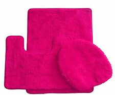 3 Piece Luxury Acrylic Bath mat set Made with 100% Polypropylene ( Hot Pink )
