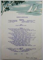 Vintage Restaurant Menu Kiernan's Garden Bowl Netcong New Jersey 1949