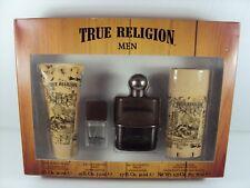 TRUE RELIGION MEN 4 PIECE GIFT SET 1.7 OZ EDT SPRAY *NEW IN BOX* FREE SHIPPING