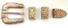 Ornate Solid 925 Sterling Silver Vintage Belt Buckle Engraved Gold Plated