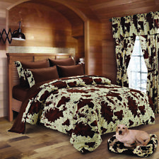 22 pc Chocolate Rodeo Cow King size comforter sheets pillowcases 3 curtain sets