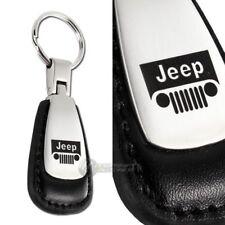 JEEP Logo Tear Drop Authentic Black Leather Key Fob Keyring Keychain Tag