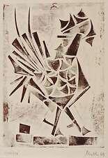 Erhard Nestler-Hahn-farblinolschnitt 1969