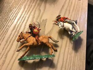 2 Britains Herald Mounted Cowboy & Indian Plastic Wild West Vintage Figures lot2