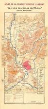 Rhône vin Carte du Sud. Châteauneuf-du-Pape, de voyage & Côtes du Rhône. Larmat 1943