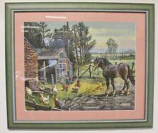 ORIGINAL ACRYL GEMÄLDE Pferde Hühner Landschaft VON MALER KARL JÄNICH