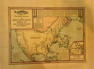 OLD BOSTON MAP OF THE USA  circa 1930'S