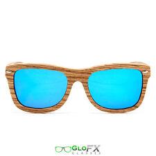 GloFX Zebra Wood Sunglasses – Polarized Blue Mirror Real Wood 100% Polarization