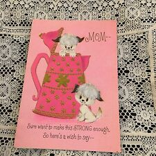 Vintage Greeting Card Mothers Day Pink Kettle Dogs