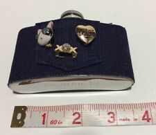Betsey Johnson 3oz Stainless Steel Flask w/ Denim Cover & 3 Pins New