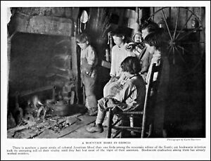 1922 Georgia mountain home mother children fireplace vintage photo article ads59