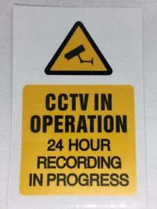 2 x CCTV Sign 24 Hour Recording Adhesive Sticker Security Warning150 x 200mm A5
