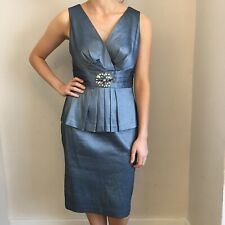 Eliza J Dress Size 10 Blue Diamanté Mother Of The Bride Cocktail Pleated