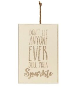 Wooden Hanging Wall Plaque Wood & Rope Sparkle Glitter Door Sign Mothers Day