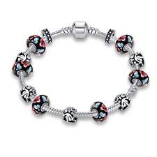 Damen Bettelarmband Schwarz Perlen Kette mit Charms Anhänger Blumen Ø 14mm