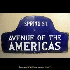 Antique Double Side Porcelain Street Sign Avenue of the Americas Ny