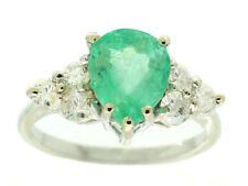 2,93 ct Colombiano Smeraldo E Diamante Anello A Grappolo in 14K Oro Bianco