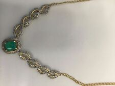Emerald necklace 14kt yelow gold with 4.75 carat emerald and 6 carats diamonds