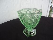 vintage art deco depression green glass vase