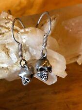 Antiqued Sterling Silver Skeleton Skull Head  Earring Hooks
