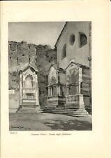 Stampa antica CORENNO PLINIO Tombe Andreani Lecco LAGO di COMO 1934 Old print
