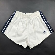 Vintage Adidas Trefoil Youth Boys L (28-30) White Running Shorts Thick NWT