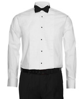 Berlioni Italy Men's Tuxedo Wingtip Collar White Dress Shirt Includes Bow-tie