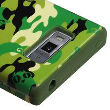 For LG Splendor US730 Rubber IMPACT TUFF HYBRID Skin Case Phone Cover Green Camo