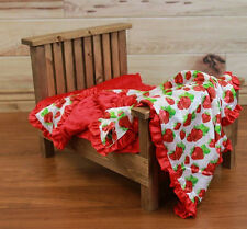 NEW minky Nursery Baby receiving Blanket Satin Ruffle red strawberry 30""