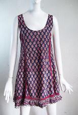 House of Harlow 1960 India Block Print Lace Trim Ruffle Hem SHIFT Sun Dress L