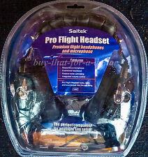 *NEW* Saitek Pro Flight Metal Headset Headphones Microphone Pilot-PH09-PZ44