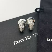 David Yurman Classic Cable Sterling Silver 12'mm Pave Diamond Huggie Earrings