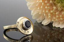Schmuck Designer Ring in Gelbgold mit beweglicher Scheibe Iolith und Brillanten