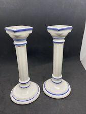 Vintage Porcelain Roman Greco Style Column Candlestick Holders Pair White & Blue