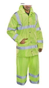 B Seen Lightweight Hi Viz Suit (jacket & Trouser) Large Beeswift Waterproof Bnwt