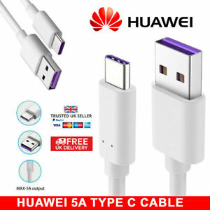 5A Super Fast Huawei P30 Pro P20 P10 Mate 30 20 10 Type C USB Charger Cable Lead